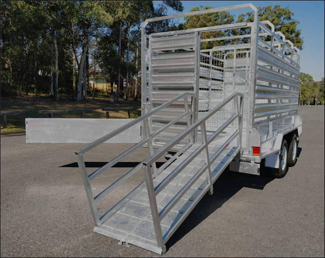 12' x 6' cattle trailer,rear view of the Midway stock trailer with main loading ramp extended
