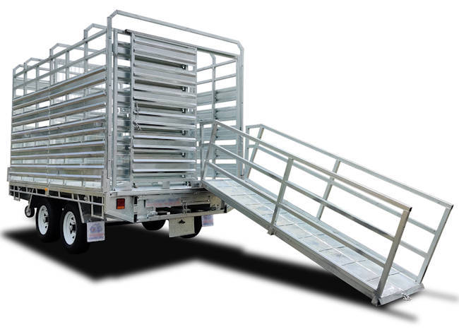 12' x 7' cattle trailer, rear view with loading ramp extended, the Midway stock trailer
