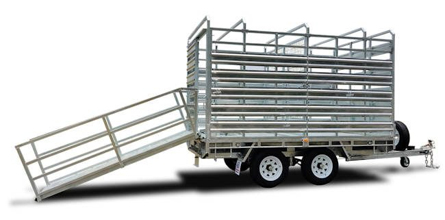 12' x 7' cattle trailer, loading ramp view of the Midway stock trailer