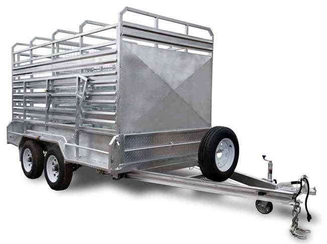 12' x 7' cattle trailer, front view of the Midway stock trailer