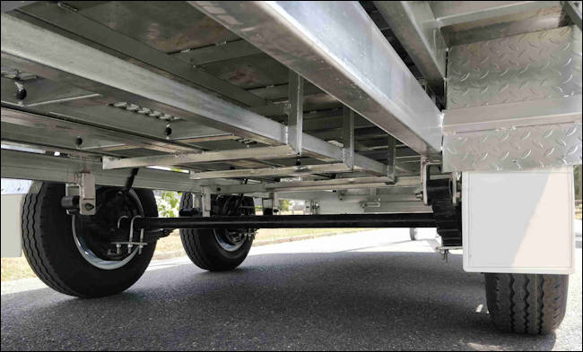 Dual Axle Trailer Showing Axle and Chassis unerneath